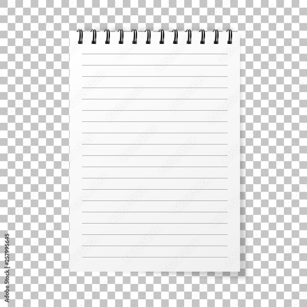 Fototapeta Notebook mockup. Note with spiral. Notebook realistic style. Notepad empty paper. vector