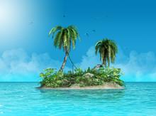Tiny Small Tropical Island Defying The Ocean