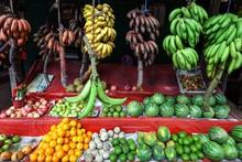 Fruit Stall, Bananas, Melons, ...