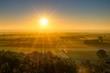 Sunrise over the Nordlinger Ries, Swabia, Bavaria, Germany, Europe