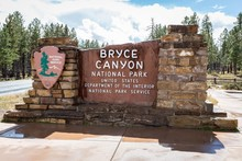 Sign At Park Entrance, Bryce Canyon National Park, Utah, USA, North America