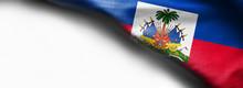 Haiti Waving Flag On White Background - Right Top Corner Flag