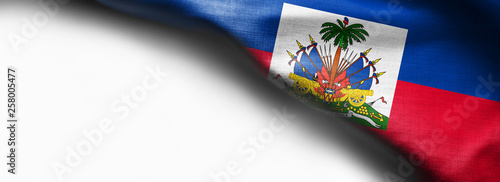 Stampa su Tela Haiti waving flag on white background - right top corner flag
