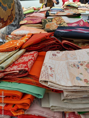 Colorful Kimono Obi for sale in vintage flea market Canvas Print