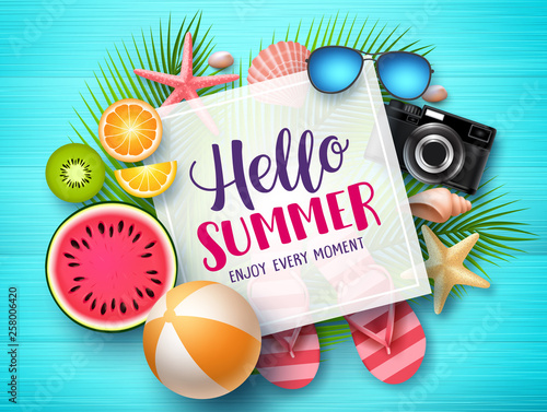 Hello summer vector banner template. Hello summer text in white space boarder with colorful beach elements like tropical fruits a beach ball in blue wood textured background. Vector illustration. Wall mural