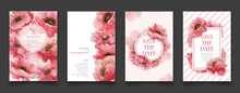 Set Of Pink Floral Watercolor Painting Cards.