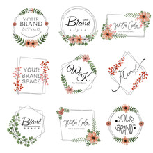 Set Of Watercolor Floral Premade Logo.
