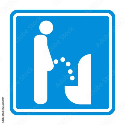 Cuadros en Lienzo Sign toilet for a man urine vector