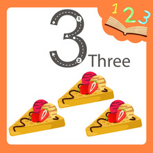 Illustrator Of Three Number Waffles