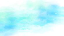 青空と鳥(水彩画タッチ)