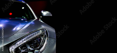 Detail on one of the LED headlights super car for copy space Tablou Canvas