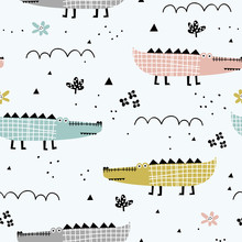 Childish Seamless Pattern With Cute Alligator And Tropical Plants. Perfect For Kids Fabric, Textile, Nursery Wallpaper. Creative Jungle Childish Texture. Scandinavian Style.