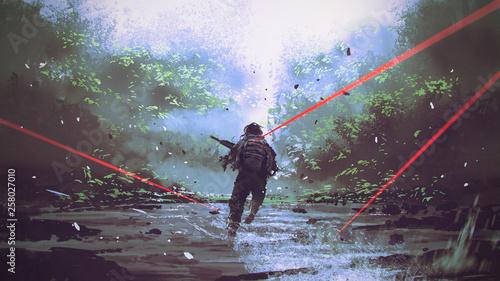 żołnierze uciekający przed atakiem wroga, styl sztuki cyfrowej, malarstwo ilustracyjne