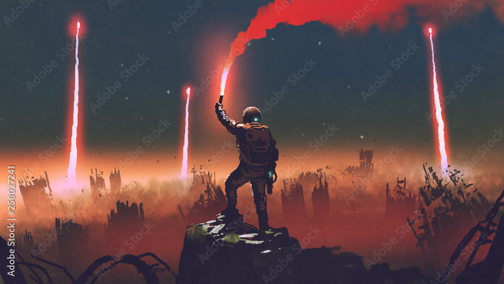 Fototapeta man holds a red smoke flare up in the air and standing against the apocalypse world, digital art style, illustration painting