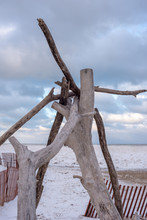 Driftwood Teepee Along Frozen Beach Of Lake Michigan In Chicago