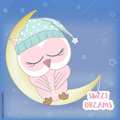 Poster Retro sign Cute pink owl sleeping with sweet dreams text animal cartoon illustration