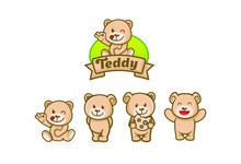 Cute Teddy Bear Character Masc...