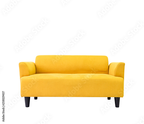 Yellow modern comfortable sofa in living room apartment with ...