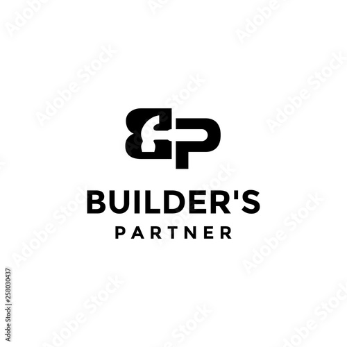 Letter B And P With Hammer On The Negative Space Logo Design