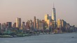 4K Lower Manhattan Skyline Morning Twilight and Ferries Timelapse