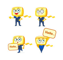 Yellow Box Mascot Character De...