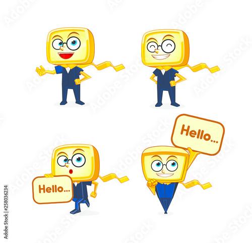 Yellow Box Mascot Character Designs Canvas Print