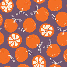 Whimsical Colorful Hand-drawn Abstract Doodle Oranges Vector Seamless Pattern On Dark Background