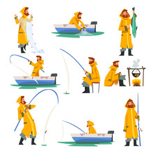 Fisherman Fishing With Net And Fishing Rod In Boat, Man Cooking On Bonfire Vector Illustration