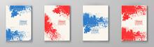 Halftone Illustration Set. Red Blue Color Brochure.