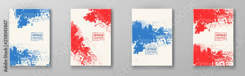 Valokuva  Halftone illustration set. Red blue color Brochure.