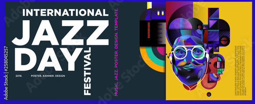 Photo  Vector colorful international jazz day poster and banner
