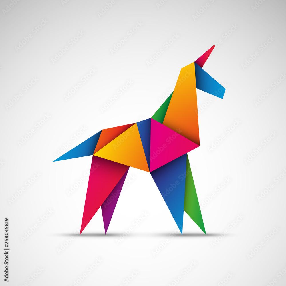 Fototapeta Jednorożec origami. Logo wektor