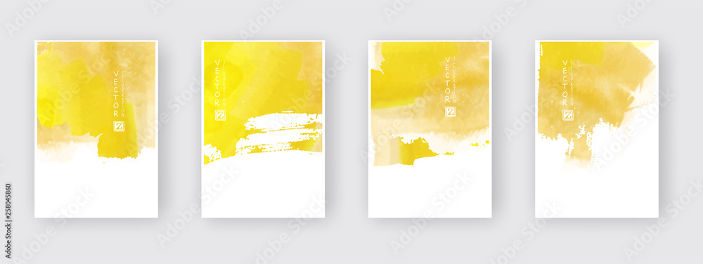 Fototapety, obrazy: Poster template set. Hand drawn Watercolor stain background collection.