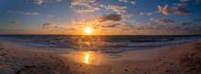 Beautiful Sunrise On White Beach, Cancun Quintana Roo, Mexico