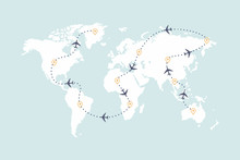 Airplane Route Line And Travel Routes. Aviation Track Path On World Map.