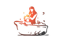 Baby, Mother, Bath, Shampoo, S...