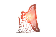 Harp, Musician, Woman, Performance, Instrument Concept. Hand Drawn Isolated Vector.