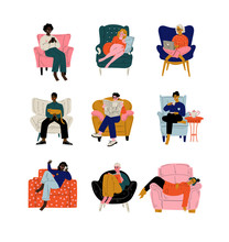 People Sitting At Home In Comfortable Armchair Set, Men And Women Resting, Drinking Tea Or Coffee, Working On Laptop, Reading, Talking On Phone Vector Illustration