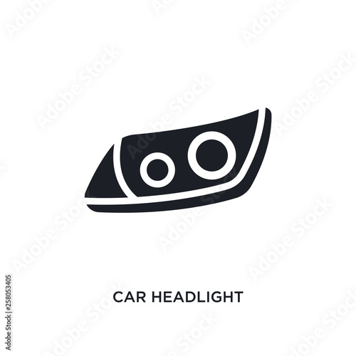 Fototapeta car headlight isolated icon. simple element illustration from car parts concept icons. car headlight editable logo sign symbol design on white background. can be use for web and mobile obraz na płótnie