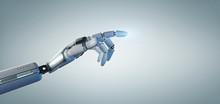 Cyborg Robot Hand On An Uniform  Background 3d Rendering