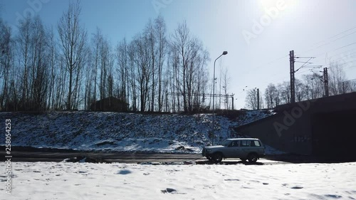 Footage car passingh by in Seinajoki, Finland. Sunny spring weather.