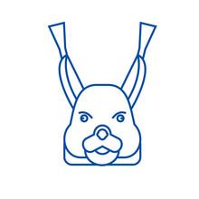 Squirrel Head Line Concept Icon. Squirrel Head Flat  Vector Website Sign, Outline Symbol, Illustration.