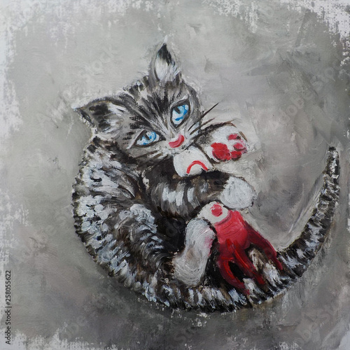 A kitten with blue eyes playing with a toy rocket Wallpaper Mural