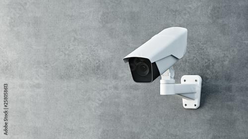 Obraz Security camera on wall 3D render. - fototapety do salonu