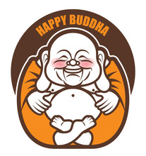 Cute Chubby Happy Laughing Buddha Character Cartoon. Vector Cartoon Illustration. Religion