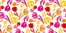 Colorful Tulip Flower Sketch Seamless Pattern.