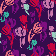 Tropical Colors Tulip Sketch Seamless Pattern