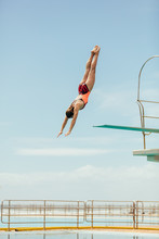 Diver Diving In The Pool