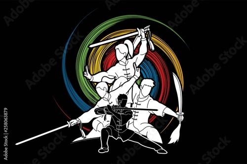 Fotografía  Kung Fu, Wushu with swords, Group of people pose kung fu fighting action graphic vector