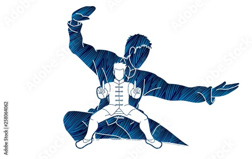 Kung Fu fighter, Martial arts action pose cartoon graphic vector Canvas Print